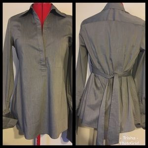 BCBG Maxazria, cuffed sleeve, tie-back, loosefit S